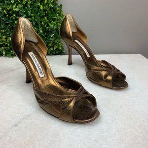 Manolo Blahnik Bronze D'Orsay Heels
